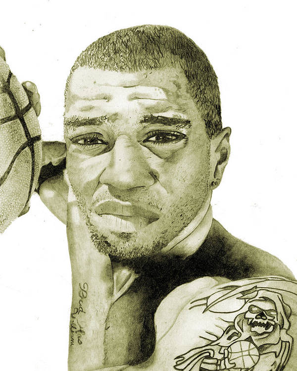 Kenyon Poster featuring the painting Kenyon Martin by Michael Pattison