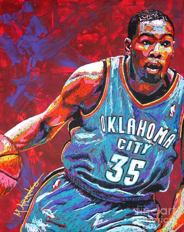 Kevin Poster featuring the painting Kevin Durant 2 by Maria Arango