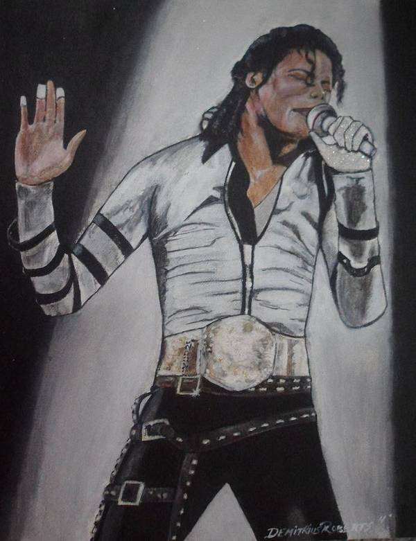 Mj Poster featuring the painting King Of Pop by Demitrius Roberts
