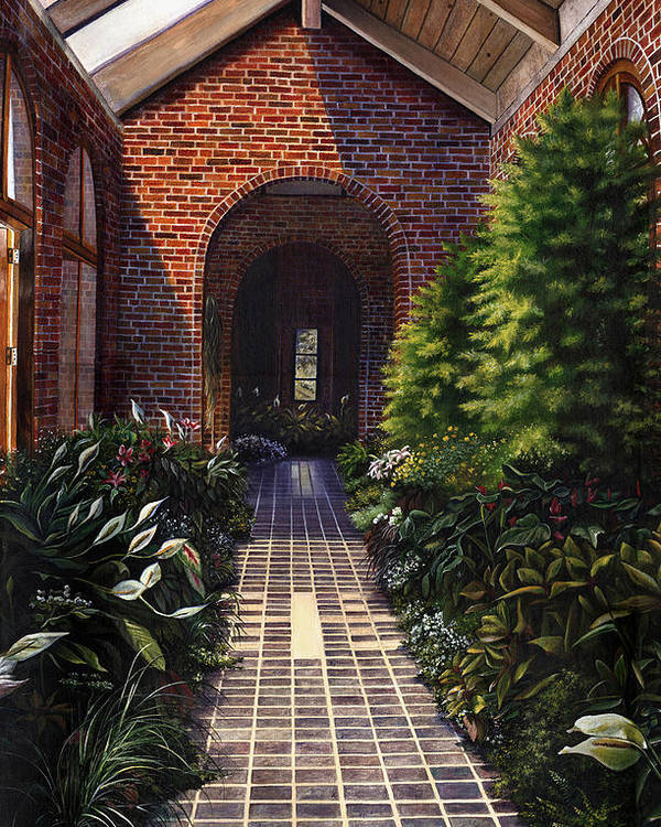 Greenhouse At Kingwood Center In Mansfield Ohio Poster featuring the painting Kingwood by Terri Meyer
