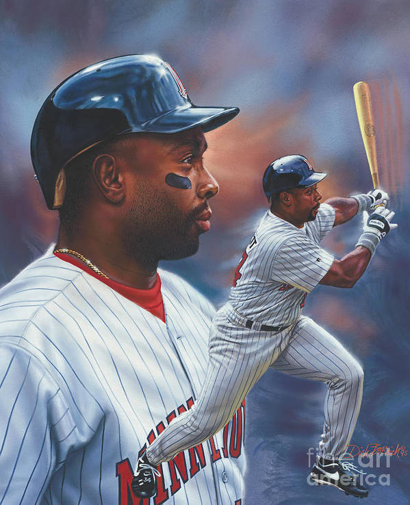 Portrait Poster featuring the painting Kirby Puckett Minnesota Twins by Dick Bobnick