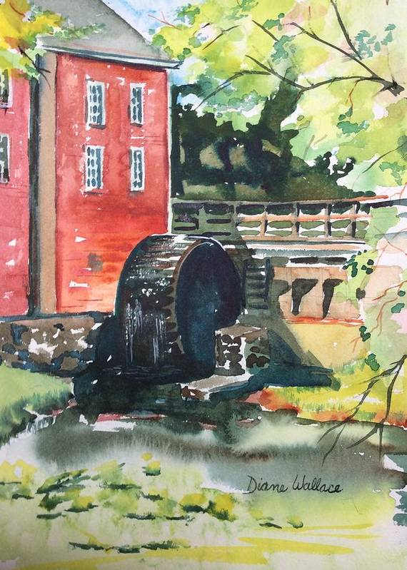 Mill Poster featuring the painting Kirby's Mill Medford Nj by Diane Wallace