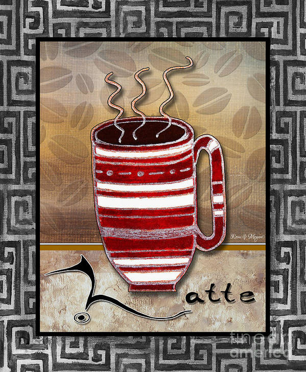 Art Poster featuring the painting Kitchen Cuisine Hot Cuppa Coffee Cup Mug Latte Drink By Romi And Megan by Megan Duncanson