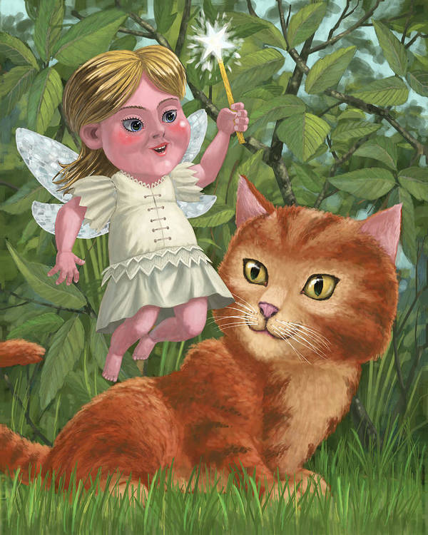 Girl Poster featuring the painting Kitten With Girl Fairy In Garden by Martin Davey