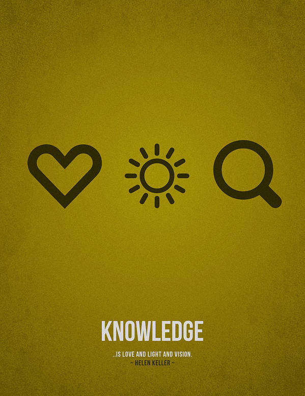 Knowledge; Education; Study; Learn; Learning; Graduation; School; University; College; Success; Work; Future; Development; Tuition; Skills; Methods; Empowers; Library; Training; Coaching; Course; Teachers; Students; Exams; Student Loan; Curriculum; Academic; Test; Experience; Assessments; Instructor; Slogan; Text; Words; Distress; Minimalist; Minimalistic; Quote; Falling; Loving Poster featuring the drawing Knowledge by Aged Pixel