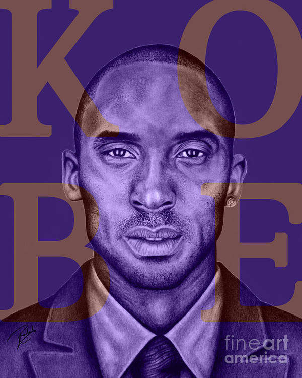 Kobe Poster featuring the drawing Kobe Bryant Lakers' Purple by Rabab Ali