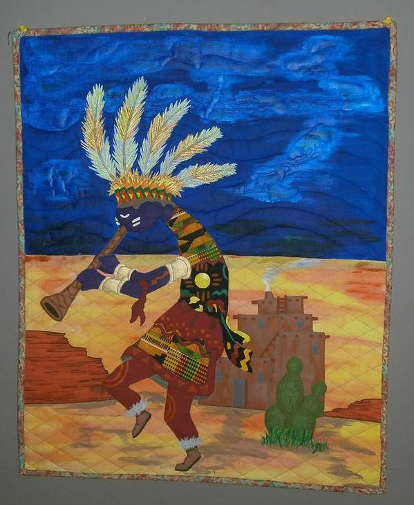 Quilts Poster featuring the tapestry - textile Kokopelli Happiness by Linda Egland