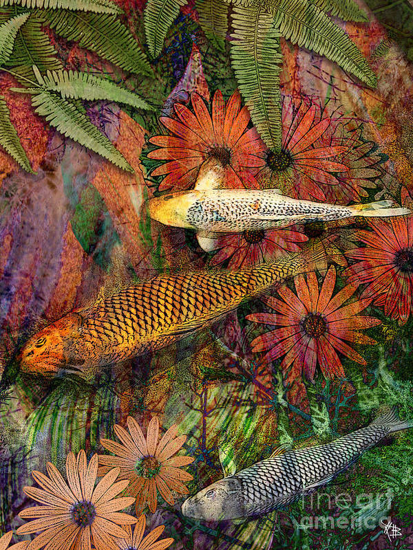 Koi Poster featuring the mixed media Kona Kurry by Christopher Beikmann