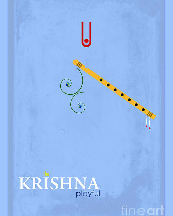 Krishna The Playful Poster featuring the digital art Krishna The Playful by Tim Gainey