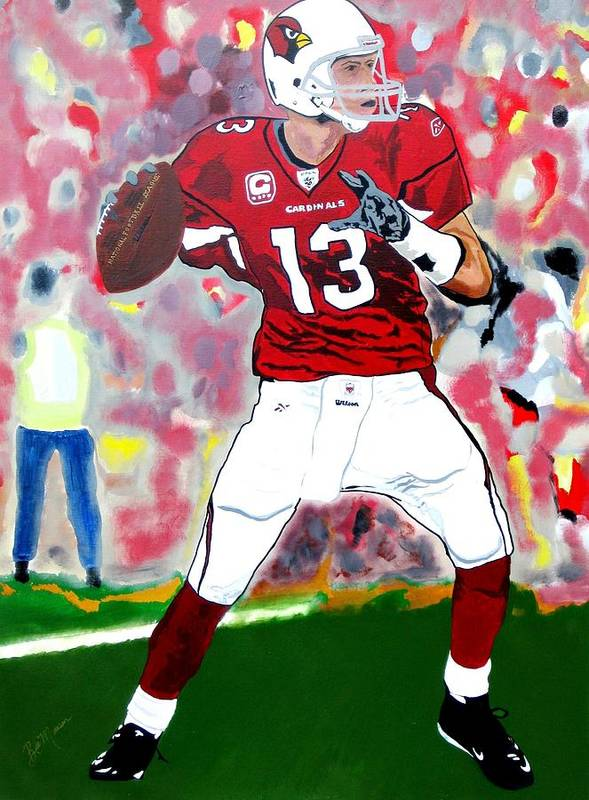 Kurt Warner Paintings Poster featuring the painting Kurt Warner-in The Zone by Bill Manson