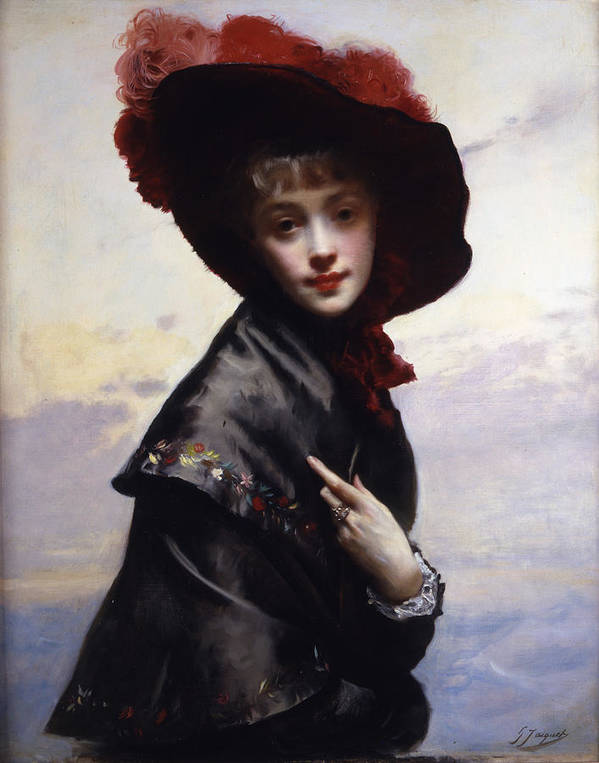 Gustave Jean Jacquet Poster featuring the digital art La Coquette by Gustave Jean Jacquet