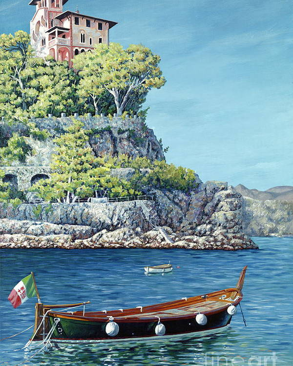Portofino Poster featuring the painting La Vie En Rose by Danielle Perry