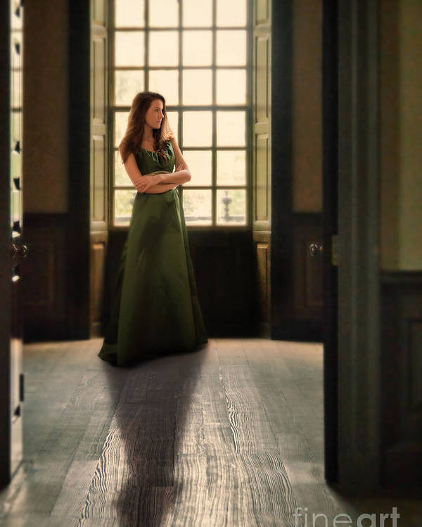 Beautiful Poster featuring the photograph Lady In Green Gown By Window by Jill Battaglia