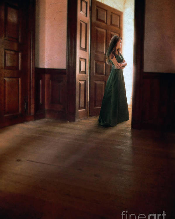 Beautiful Poster featuring the photograph Lady In Green Gown In Doorway by Jill Battaglia