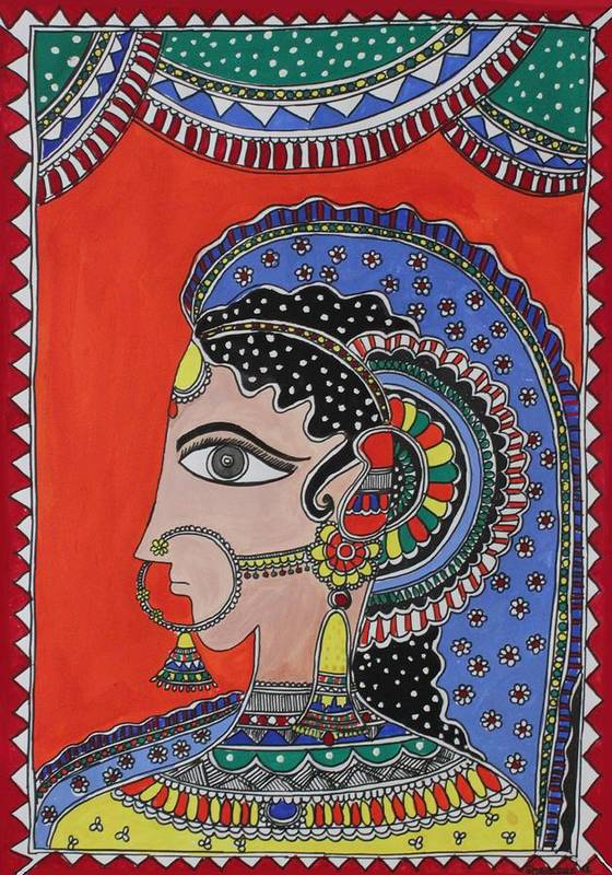 Shakhenabat Poster featuring the painting Lady In Ornaments by Shakhenabat Kasana