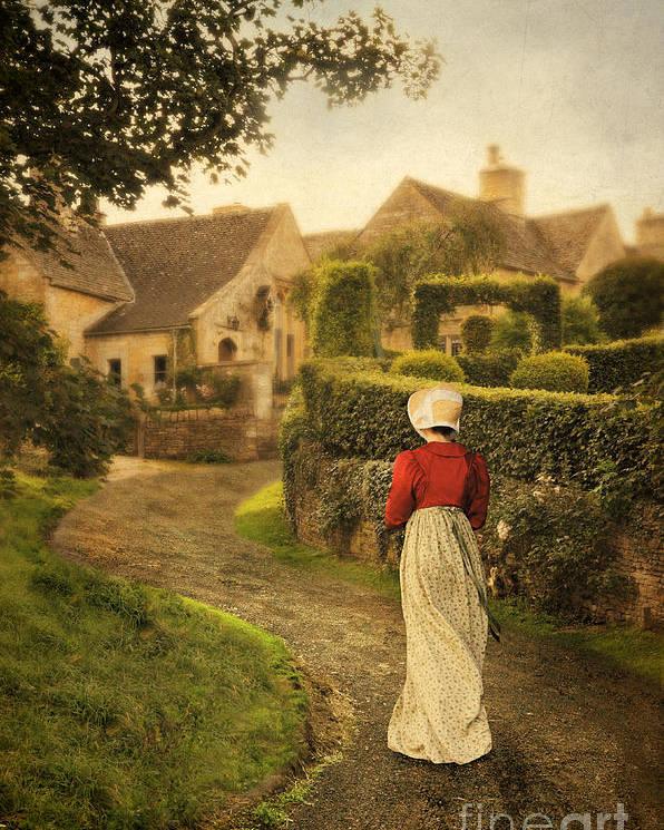 Town Poster featuring the photograph Lady In Regency Dress Walking by Jill Battaglia