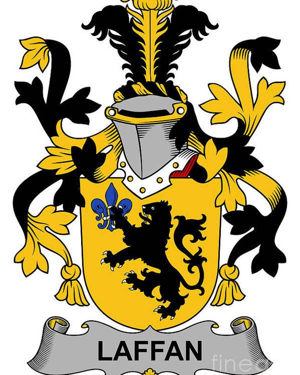 Laffan Poster featuring the digital art Laffan Coat Of Arms Irish by Heraldry