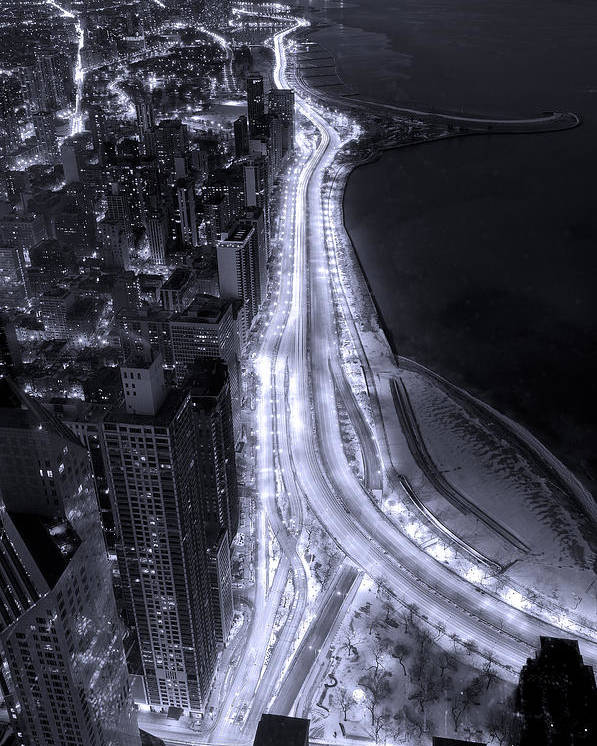 Beach Poster featuring the photograph Lake Shore Drive Aerial B And W by Steve Gadomski