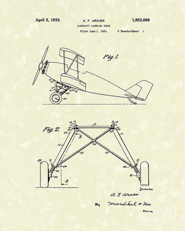 Arcier Poster featuring the drawing Landing Gear 1932 Patent Art by Prior Art Design