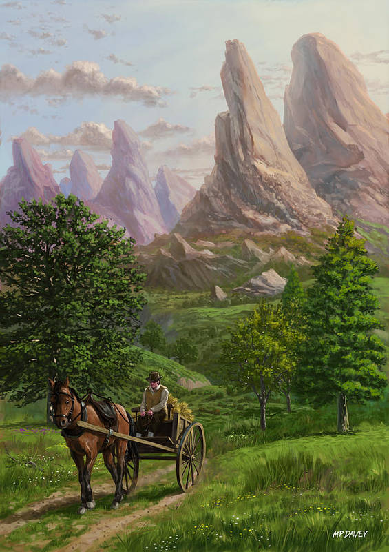 Mountains Poster featuring the painting Landscape With Man Driving Horse And Cart by Martin Davey