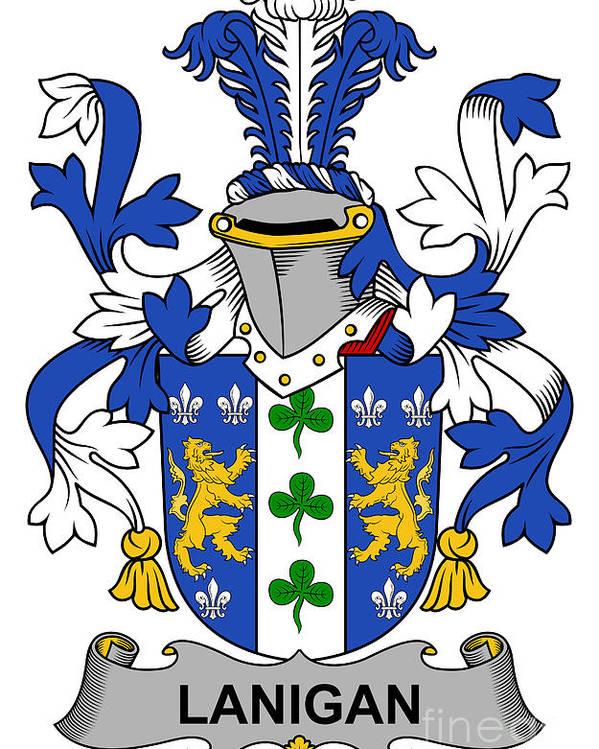 Lanigan Poster featuring the digital art Lanigan Coat Of Arms Irish by Heraldry