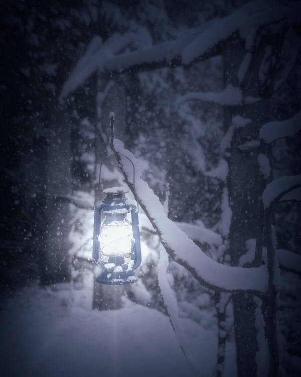 Lantern Poster featuring the photograph Lantern In Snow by Joana Kruse