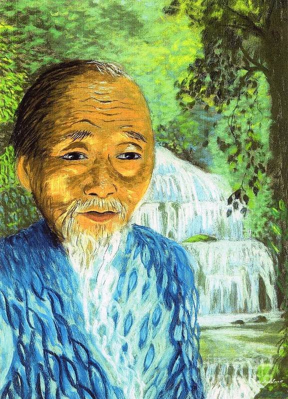 Lao Poster featuring the painting Lao Tzu by Jane Small
