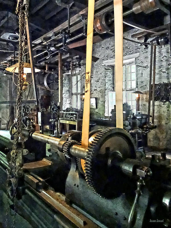 Lathe Poster featuring the photograph Large Lathe In Machine Shop by Susan Savad