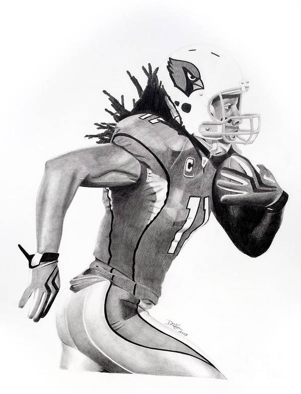 Larry Fitzgerald Poster featuring the drawing Larry Fitzgerald Fitz by Devin Millington