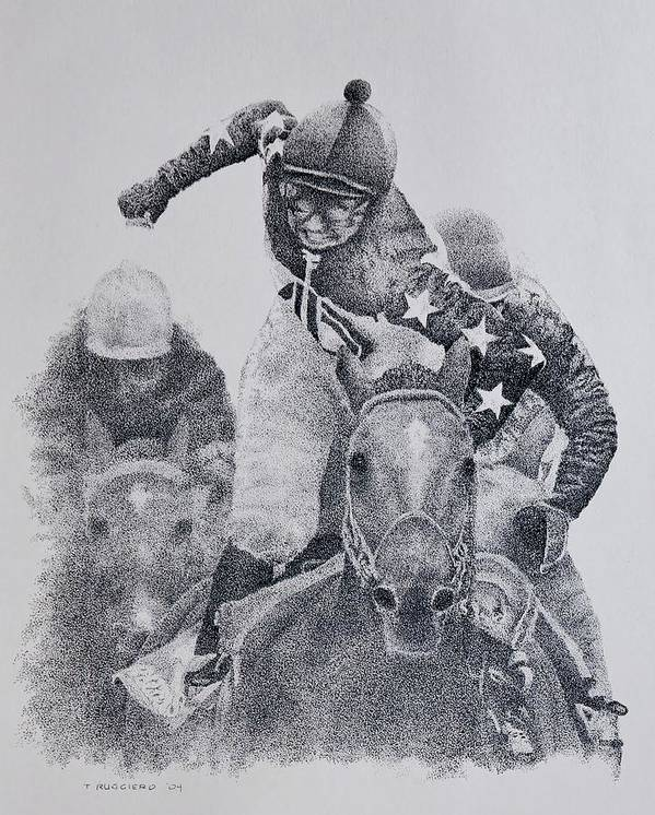 Horses Horse Racing Jockeys Racetrack Azeri Thorobreds Poster featuring the painting Last Call by Tony Ruggiero