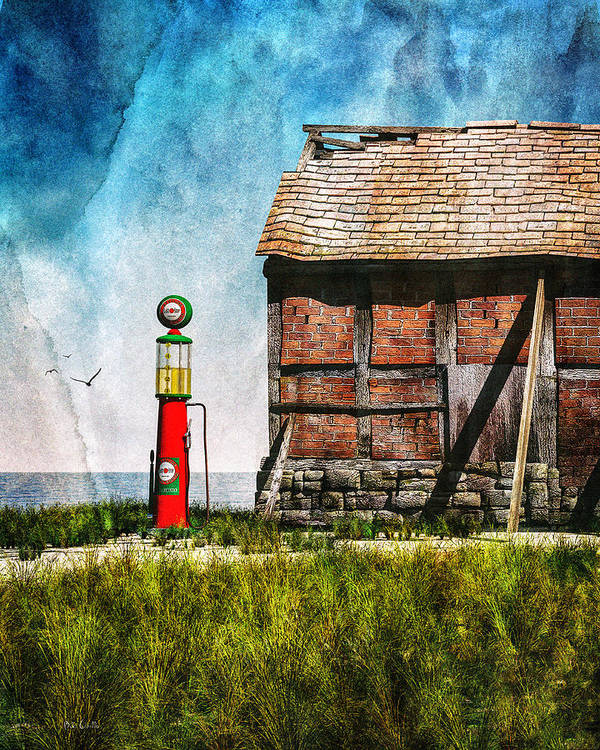 Landscape Poster featuring the mixed media Last Stop Texaco by Bob Orsillo