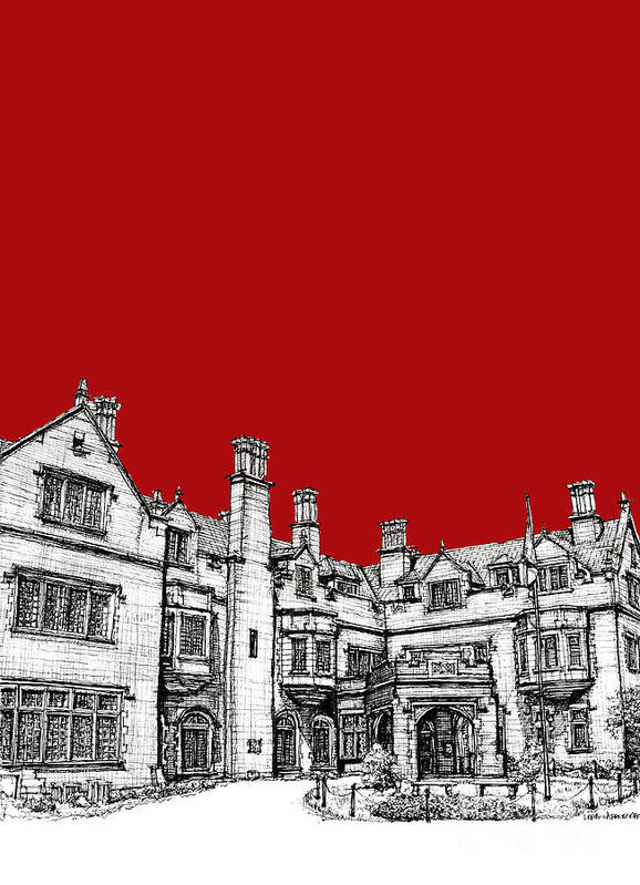 Red Poster featuring the drawing Laurel Hall In Red -portrait- by Adendorff Design