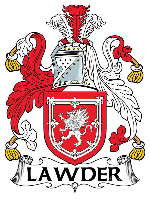 Lawder Poster featuring the digital art Lawder Coat Of Arms Irish by Heraldry
