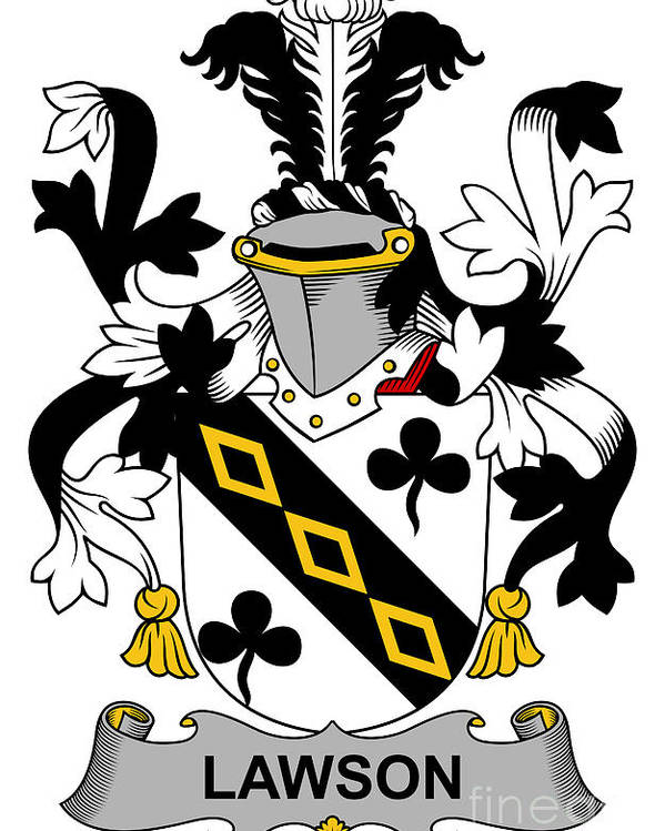 Lawson Poster featuring the digital art Lawson Coat Of Arms Irish by Heraldry