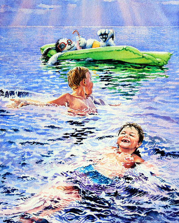 Boys Swimming Painting Poster featuring the painting Lazy Hazy Crazy Days by Hanne Lore Koehler