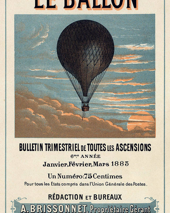 Vintage Poster featuring the digital art Le Ballon Advertising For French Aeronautical Journal by Georgia Fowler