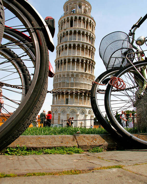 Architecture Poster featuring the photograph Leaning Bicycles Of Pisa by Peter Tellone