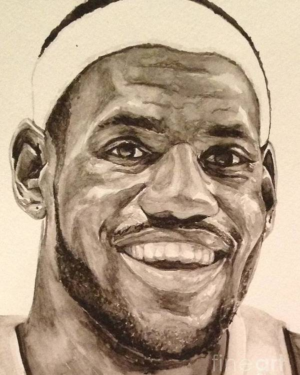 Lebron James Poster featuring the painting Lebron James by Tamir Barkan