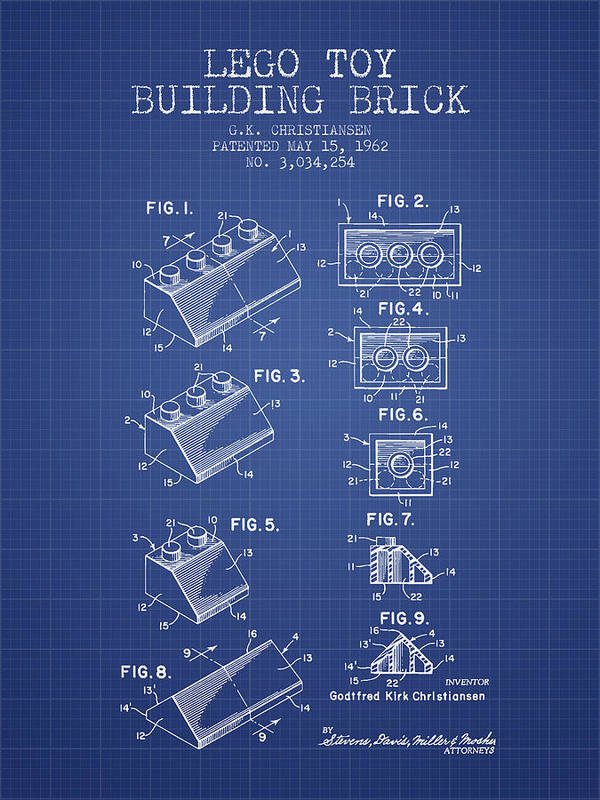 Lego toy building brick patent from 1962 blueprint poster lego poster featuring the digital art lego toy building brick patent from 1962 blueprint by malvernweather Image collections