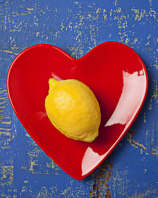 Yellow Lemon Poster featuring the photograph Lemon Heart by Garry Gay