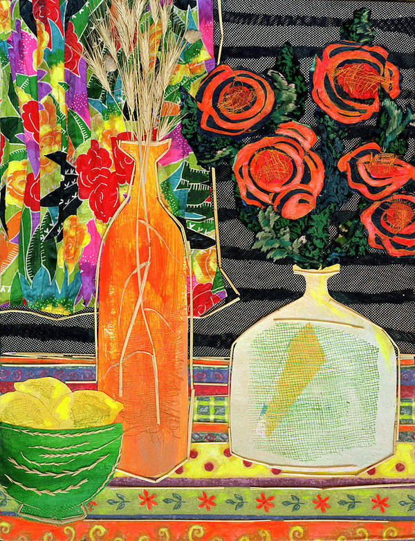 Flowers In A Vase Poster featuring the mixed media Lemon Squash And Pumpkin by Diane Fine