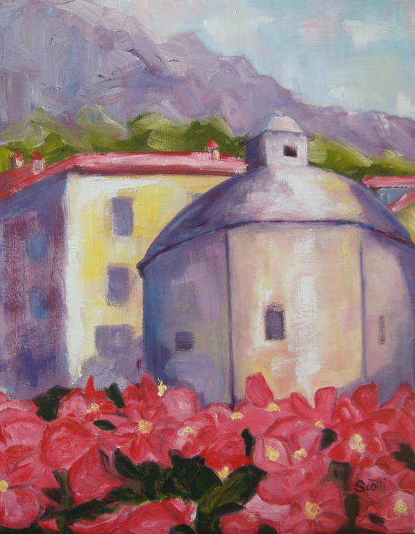 Oil Painting Poster featuring the painting Lenno Flowers by Linda Scott