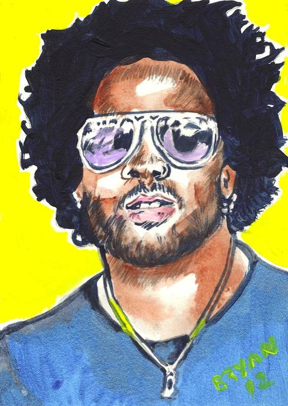 Lenny Kravitz Poster featuring the painting Lenny Kravitz by Bryan Bustard