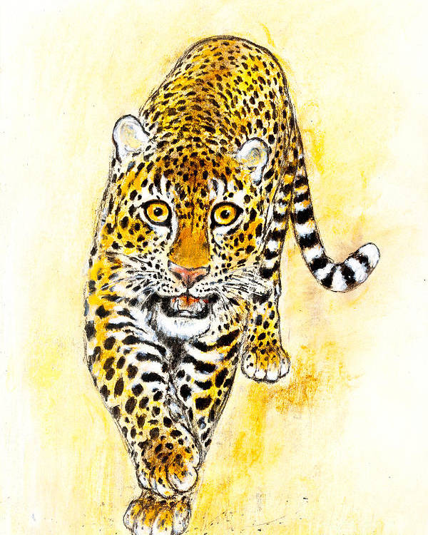 Leopard Poster featuring the painting Leopard by Kurt Tessmann