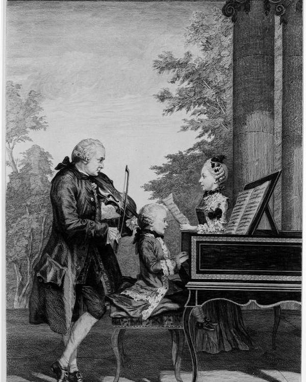 Family Poster featuring the drawing Leopold Mozart And His Two Children by Louis Carrogis Carmontelle