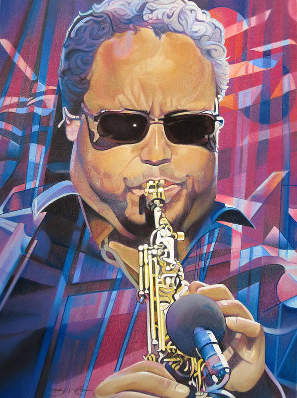 Leroi Moore Poster featuring the drawing Leroi Moore And 2007 Lights by Joshua Morton