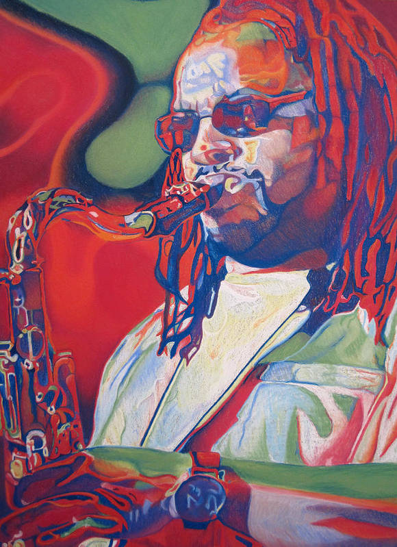 Leroi Moore Poster featuring the drawing Leroi Moore Colorful Full Band Series by Joshua Morton