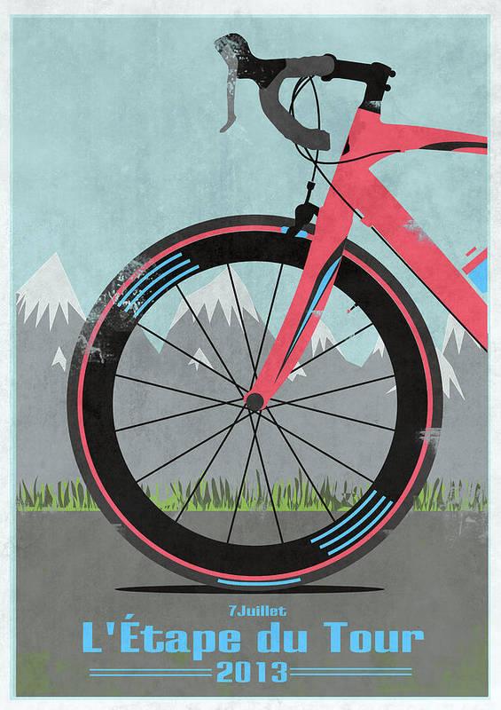 France Poster featuring the digital art L'etape Du Tour Bike by Andy Scullion