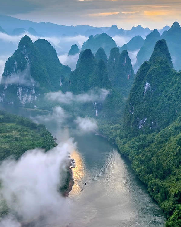 Yangshuo Poster featuring the photograph Li River by Hua Zhu