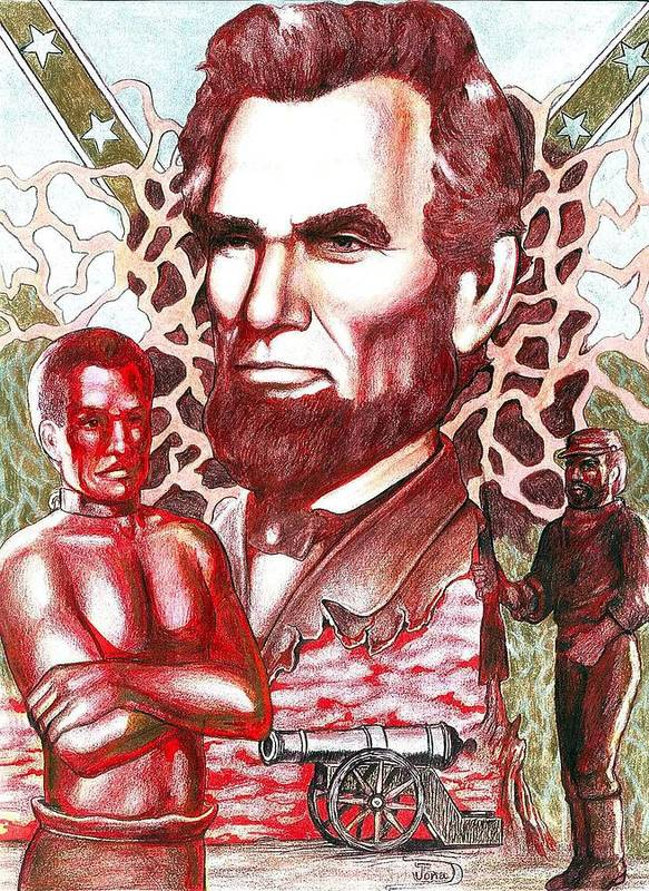 Abraham Lincoln Poster featuring the drawing Liberty Red by Jamie Jonas